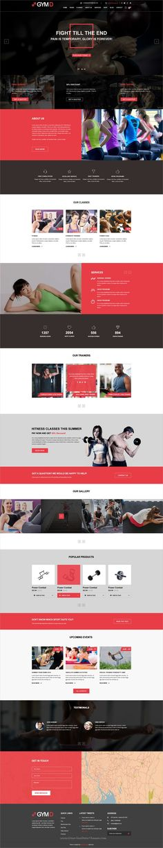 GYMD is clean and modern design PSD template for #gym and #fitness centers website with 8 layered PSD pages to live preview & download click on Visit  #psddesign