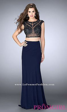 GiGi by La Femme 23910 Modern two piece jersey gown with sheer beaded top. Celebrity Prom Dresses, Prom Dresses 2017, Designer Prom Dresses, Formal Dresses, Prom Girl, Beaded Top, Two Piece Dress, Evening Gowns, Celebrity Style