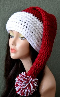 Crochet Christmas Hat. Santa Hat. Girls and Women's by Africancrab, $15.00