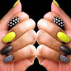 yellow, black and white nail design