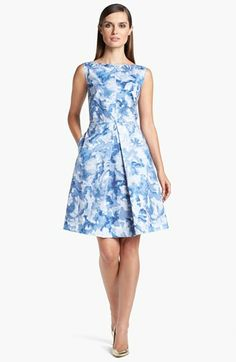 St. John Collection Abstract Blossom Print Inverted Pleat Dress available at #Nordstrom