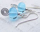 Recycled bombay sapphire glass lampwork beads combined with sterling silver