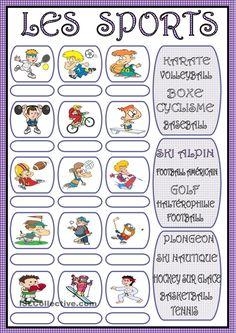 LES SPORTS: Créez une phrase pour chaque sport, conjugant le verbe approprié