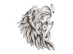 Guardian Angel Tattoo For Women Angel Tattoo Arm, Small Angel Tattoo, Side Neck Tattoo, Wing Tattoo Designs, Tattoo Design Drawings, Skull Tattoo Design, Angle Tattoo For Men, Small Guardian Angel Tattoos, Halo Tattoo