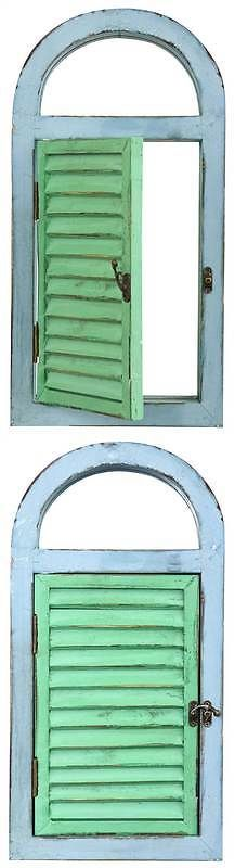 Shutters 66799: Vintage Window Shutter And Mirror Wall Decor In Green And Blue [Id 3499366] -> BUY IT NOW ONLY: $48.13 on eBay!
