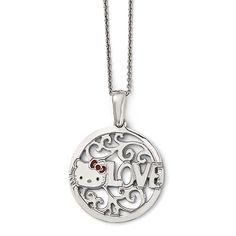 Sterling Silver Hello Kitty Enamel Love Circle Red Bow Collection Necklace.