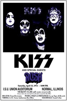 KISS 1975 box office concert POSTER with RUSH