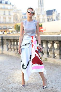 colorful, flowy skirt with metallic heels and basic tank