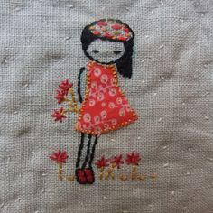 This is my new embroidery pattern, she also includes a cat