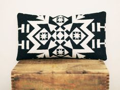 Geometric Wool Pillow // Black and White / Grey by ScoutandWhistle, $55.00