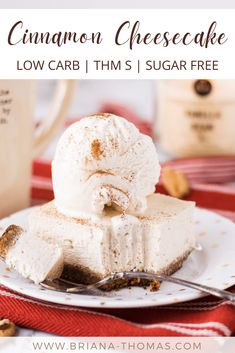 """This low carb Cinnamon Cheesecake has an amazing creamy texture and the best """"brown sugar"""" pecan crust! It's actually sugar free. #brianathomas #sugarfreedessert #trimhealthymama #thm #lowcarb #sugarfree #cheesecake #cinnamon #falldessertrecipe Cinnamon Cheesecake, Low Carb Cheesecake, Best Low Carb Recipes, Thm Recipes, Low Carb Sweets, Low Carb Desserts, Sugar Free Desserts, Sugar Free Recipes, Cheesecakes"""