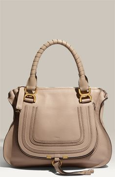 replica chloe marcie medium studded satchel bag caramel