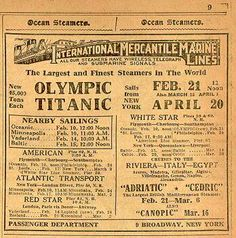 I have this same ad framed in my living room promoting the Titanic's return trip to South Hampton leaving New York on April 20,1912...Which sadly never came to be.