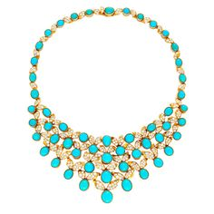 A Turquoise and Diamond Necklace, of bib design, set with oval and round cabochon turquoise enhanced with stylized foliate motifs set with brilliant-cut diamonds, mounted in yellow gold, length approximately 360mm, signed Cartier, Paris, and numbered 05092, French assay mark and maker's marks, circa 1950s.