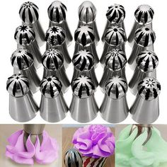 20 Pcs Sphere Ball Russian Cake Decor Icing Piping Nozzles Pastry Tips Baking Tool Cake Frosting Tips, Icing Tips, Cupcake Icing, Cake Decorating Piping, Cupcakes Decorating, Russian Piping Tips, Russian Cakes, Easy Minecraft Cake, Wilton Tips