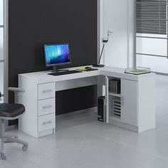 Mesa para Computador Espanha 3 Gavetas Branco - Politorno