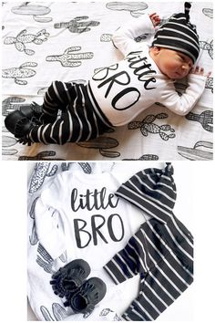 baby boy little BRO coming home outfit Black and gray Stripe