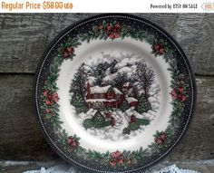 LABOR DAY SALE Royal Stafford \ Christmas Cabin Lodge\  Dinner Plate 11 1/4\  Burselm England Serving Holiday See Details Below & Susan Winget A Christmas Story Dinner Plate | To File | Pinterest | eBay