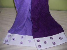 Toallas combinadas bordado en la cenefa de piqué