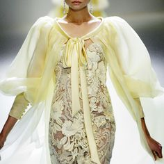 butter yellow lace dress with fab sleeves