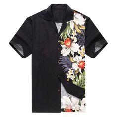 2a1d43fb5 Made in Hawaii Men's Hawaiian Shirt Aloha Shirt Side Floral ORchid Black,  Multicolor Hawaiian Print