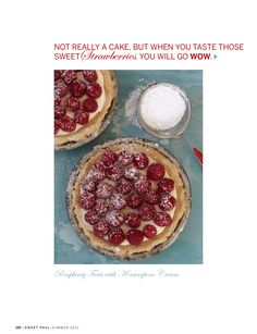 Raspberry Tart with Mascarpone Cream - made with blackberries instead. The filling would make an excellent fruit dip. I love mascarpone! Köstliche Desserts, Delicious Desserts, Dessert Recipes, Yummy Food, Plated Desserts, Tart Recipes, Sweet Recipes, Baking Recipes, Raspberry Tarts