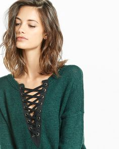 lace-up hi-lo sweater