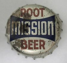 Mission Root Beer Soda Pop Bottle Cap Crown - cork lined - silver