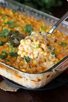 Add some spice to dinner with Cheesy Fiesta Corn Casserole! Ready for the oven in just 10 minutes, this easy creamy corn goodness adds just the right kick to any meal. And it truly couldn't be any easier to prepare. Corn Recipes, Side Dish Recipes, Veggie Recipes, Mexican Food Recipes, Cooking Recipes, Yummy Recipes, Easy Side Dishes, Cooking Ideas, Dinner Recipes