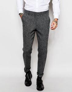 ASOS+Slim+Fit+Smart+Trousers+In+Harris+Tweed