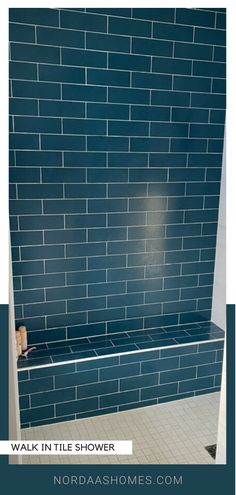 Beautiful blue subway tile walk in shower. Complete with seat and no door, this shower invites you to relax and recover in your master bathroom. Home design and build by Nordaas Homes Modern Farmhouse Bathroom, Classic Bathroom, Farmhouse Design, Mood Board Interior, Interior Ideas, Interior Design, Tile Walk In Shower, Blue Subway Tile, Bath Powder