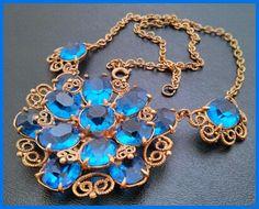Vintage Necklace Pendant Peacock Blue by BrightgemsTreasures, $49.50