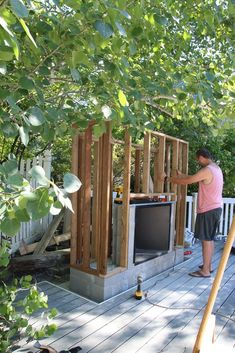 The wooden pergola is a good solution to add beauty to your garden. If you are not ready to spend thousands of dollars for building a cozy pergola then you may devise new strategies of trying out something different so that you can re Patio Pergola, Backyard Patio, Backyard Landscaping, Gazebo, Backyard Projects, Patio Awnings, Landscaping Ideas, Cheap Pergola, Cement Patio