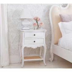 Provencal 2-Drawer White Bedside Table