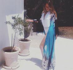 Adriana Bouzaki wearing a Summer beach wear by Elena Chalati