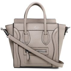 Celine Nano Luggage Handbag in Light Gray Pebbled Leather ❤ liked on Polyvore featuring bags, mini tote handbag, pebbled leather tote bag, trapeze bag, mini bag and trapeze tote bag