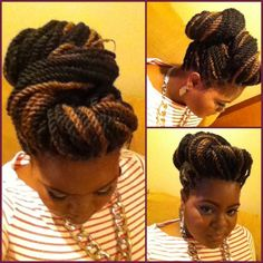 Maybe I can try this updo with my box braids... Very cute.