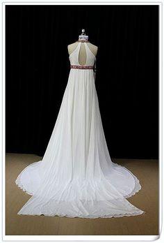 White and Red Wedding Dress in Chiffon by WeddingDressFantasy