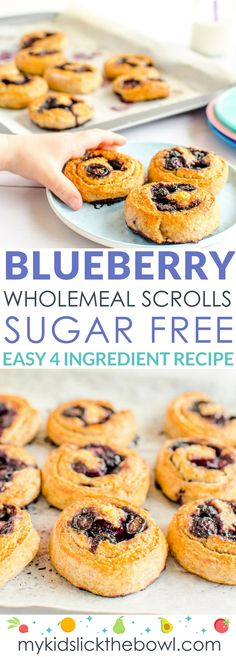 Wholemeal blueberry scrolls a snack for kids with no sugar, easy 4 ingredient recipe