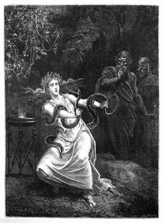 The Oracle of Delphi by Émile Bayard. Illustration from Histoire de la Magie by Paul Christian, 1870.