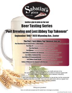 Lost Abbey / Port brewing Tap takeover @ Sabatinis 9/19