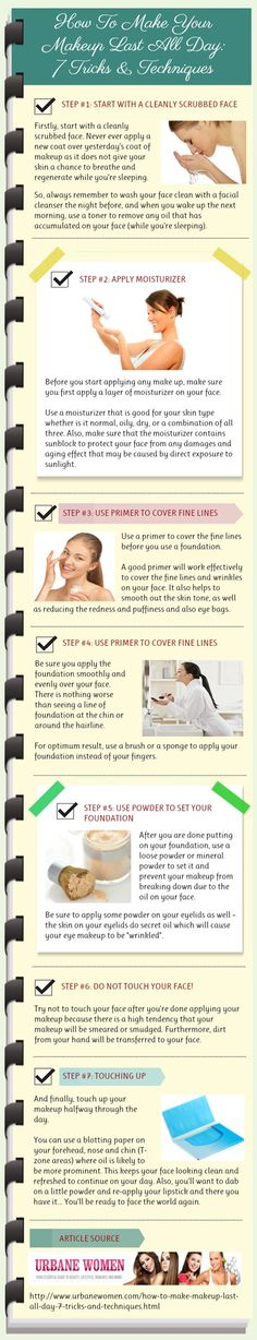 How to Make Your Makeup Last All Day: 7 Tricks &b Techniques---Gotta appreciate that they list using primer to hide fine lines twice, right beside one another.