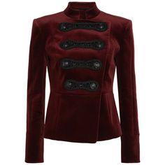 Pierre Balmain Drummer Boy embellished cotton-blend velvet jacket (4,020 PEN) ❤ liked on Polyvore featuring outerwear, jackets, tops, balmain, burgundy, burgundy velvet jacket, military inspired jacket, red jacket, red velvet jacket and embellished jacket