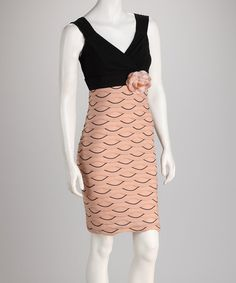 Take a look at this Peach & Black Flower Dress by Jazzy Martini on #zulily today! $19.99
