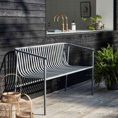 Their shared passion for good design laid Metal Outdoor Bench, Outdoor Furniture Bench, Outdoor Garden Bench, Garden Sofa, Home Furniture, Outdoor Decor, Indoor Benches, Floor Lanterns, Gardens