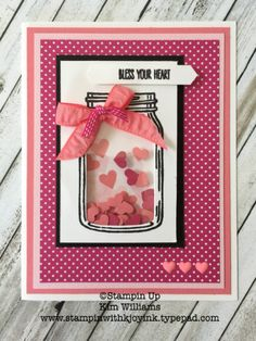 "Today, I am sharing a sweet ""Jar of Love"" shaker card. This stamp set has so many possibilities. With 3 jar sizes and tons of accesories, like fish, hearts, flowers, lightening bugs, and candy, this jar can be anything you want it to be! I made a ""bless your heart'""..."