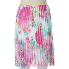 Floral with a hint of gold embellishment Candie's Pleated Midi Skirt - Juniors