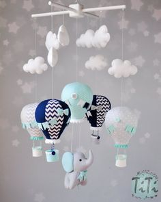 Elephant baby mobile, felt baby mobile, hot air balloon mobile, felt elephant, elephant balloon mobile, mint gray aqua and navy mobile