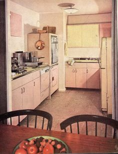 A lovely little pastel pink kitchen from 1958. #vintage #1950s #kitchens #pink #appliances