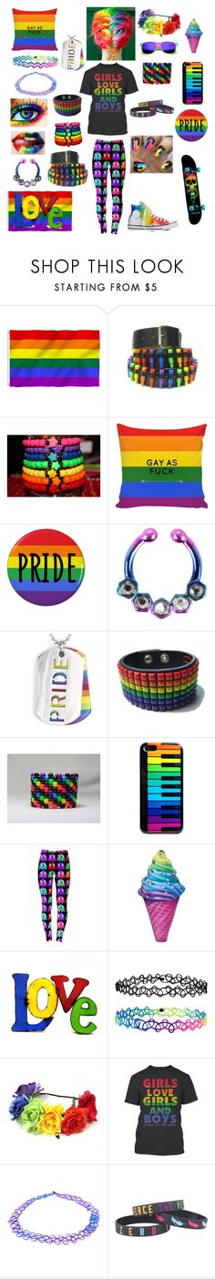 """PRIDE/Love Is Love Outfit"" by serenity-sempiternal2006 ❤ liked on Polyvore featuring Bullet, West Coast Jewelry, Converse, Iscream, Rustic Arrow and Accessorize"